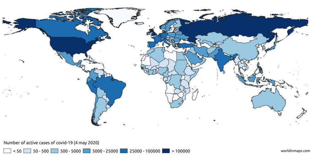 coronavirus number of active cases in the world