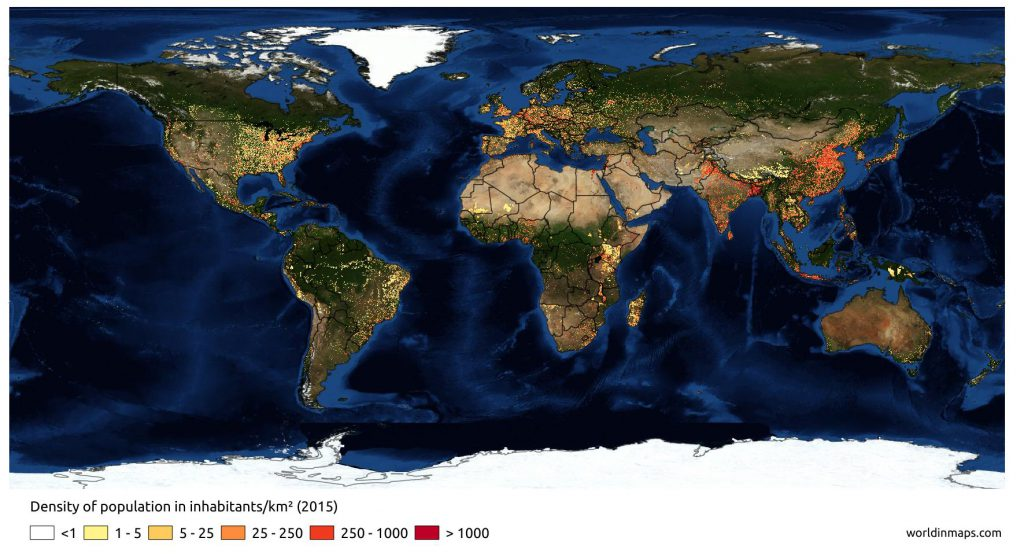 Density of population in 2015 with high precision and aerial map for backgroung