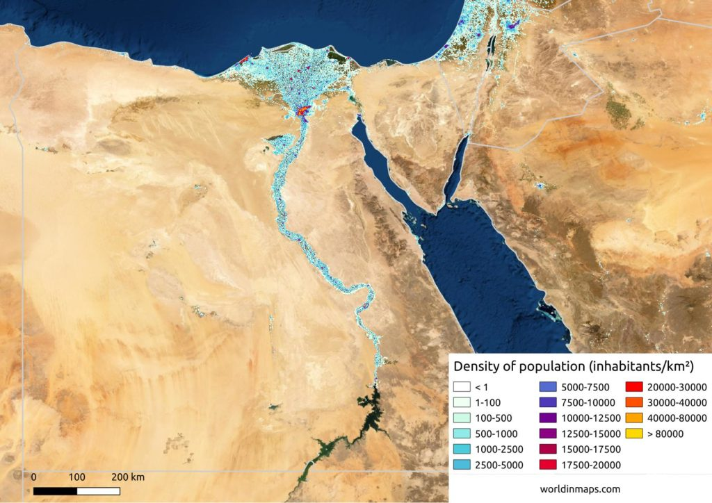 Physiological density or real density of population in Egypt