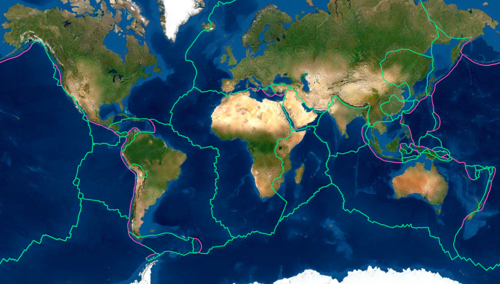 world map with the tectonic plates boundaries