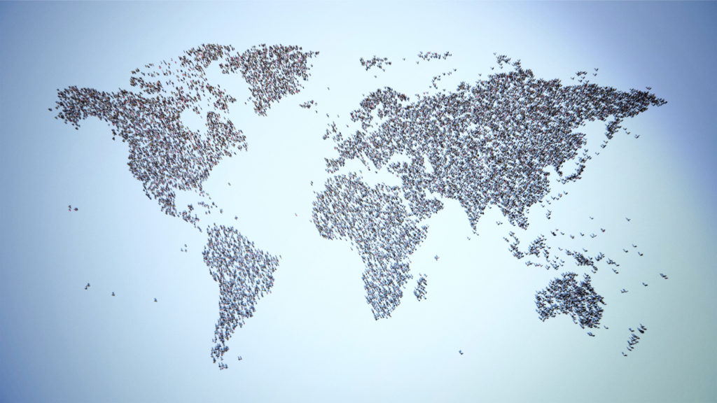 map of the world with people
