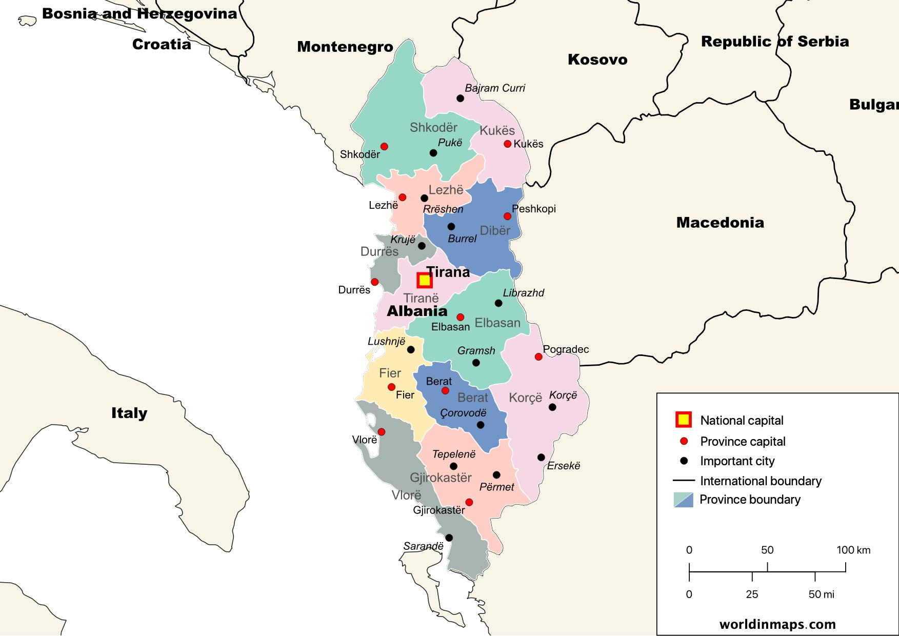 political map of Albania with provinces and capitals