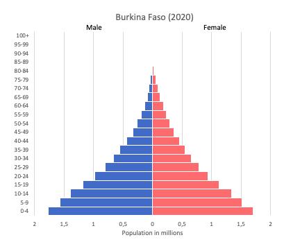 Population pyramid of Burkina Faso (2020)