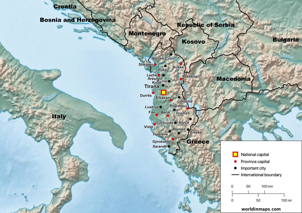 Physical map of Albania