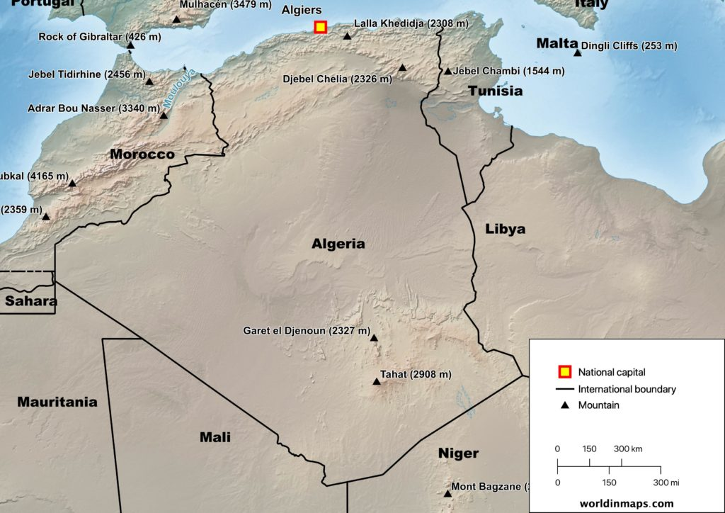physical map of Algeria