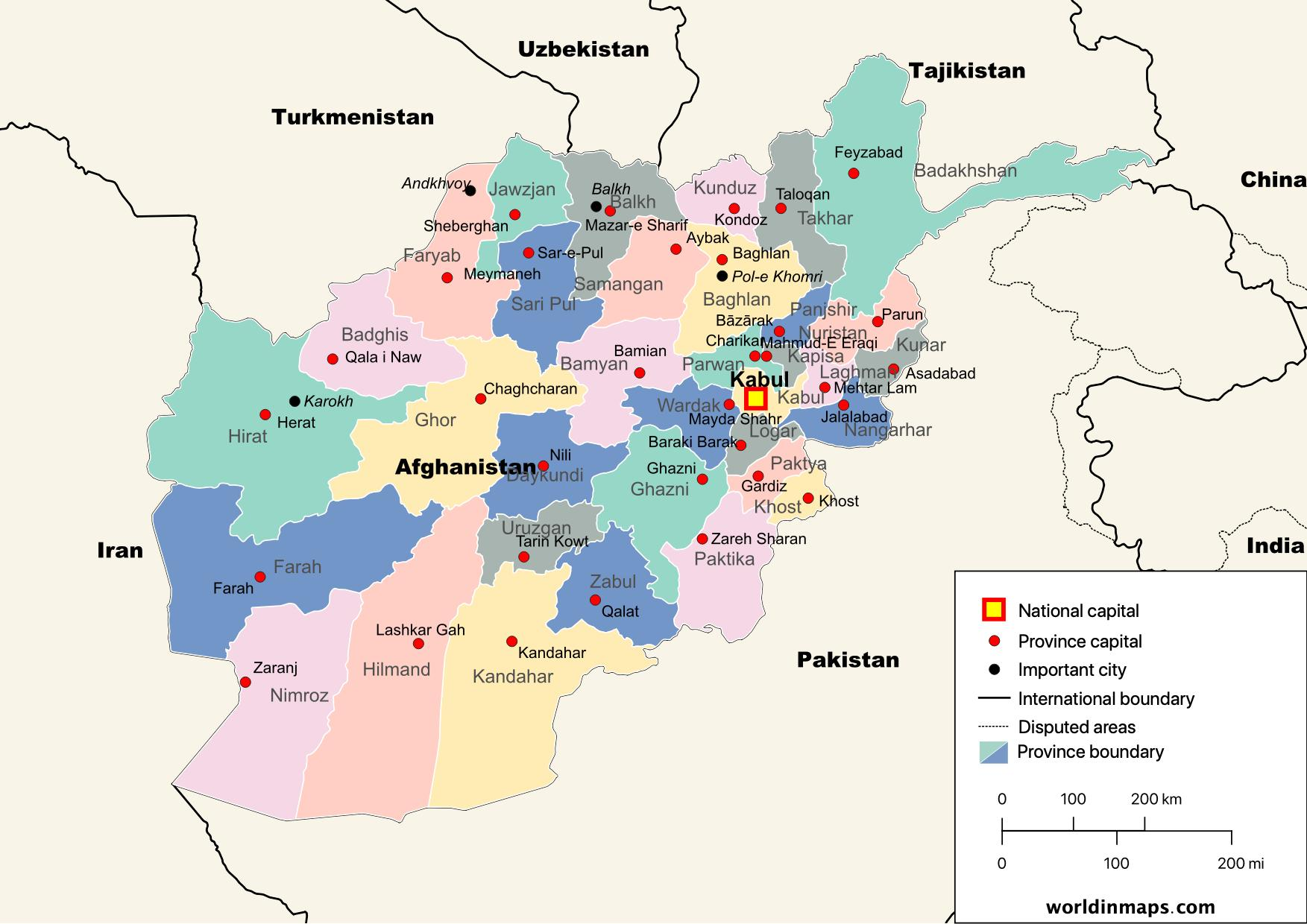 political map of Afghanistan with provinces and capitals