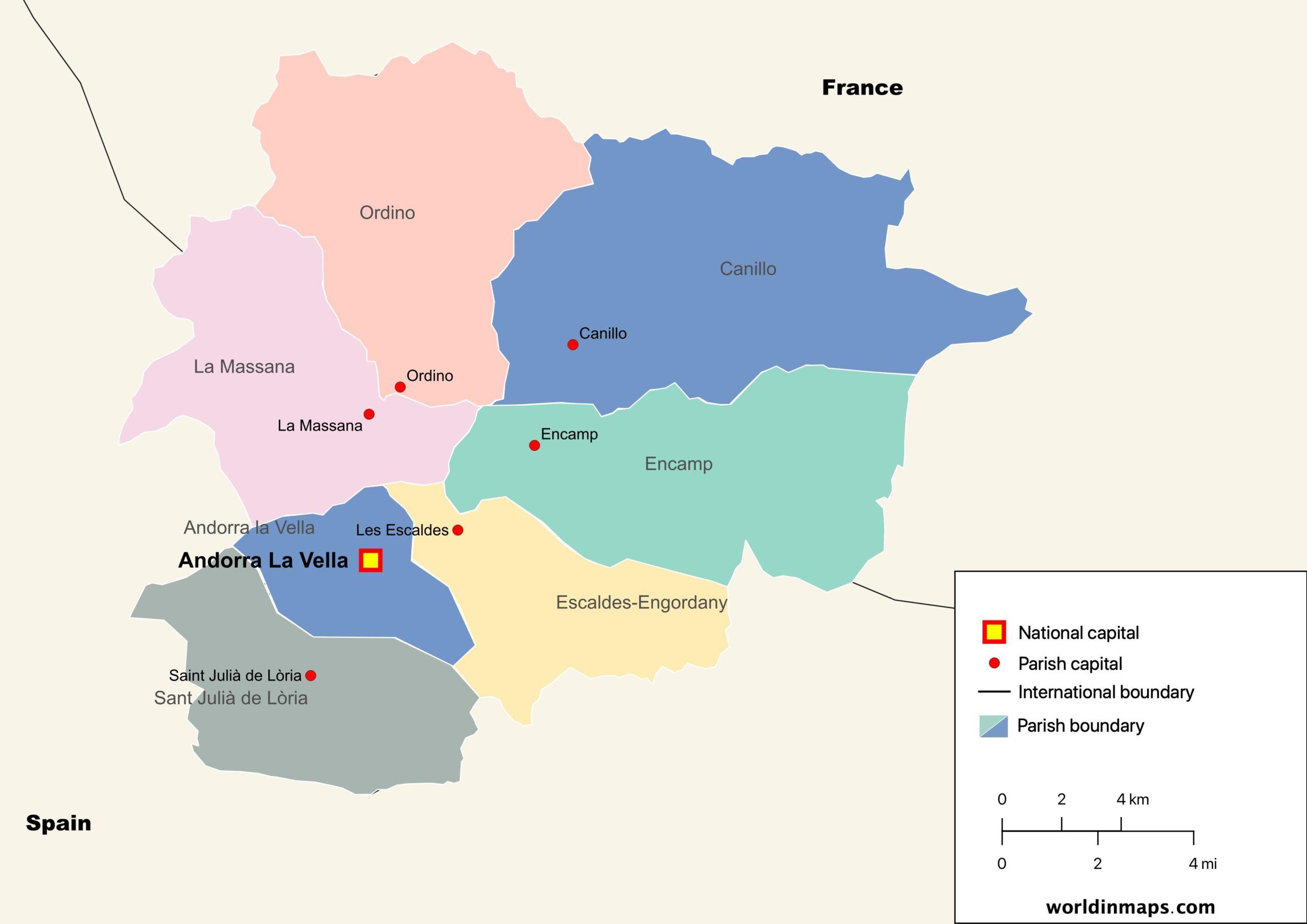 political map of Albania with parish boundaries and parish capitals