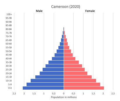 Population pyramid of Cameroon (2020)