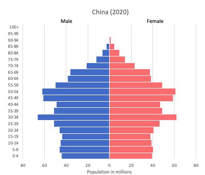 Population pyramid of China (2020)
