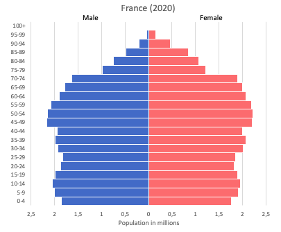 population pyramid of France (2020)