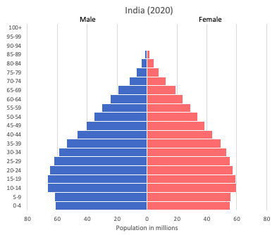 population pyramid of India (2020)