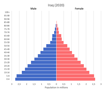 Population pyramid of Iraq (2020)