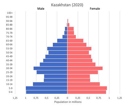 population pyramid of Kazakhstan (2020)