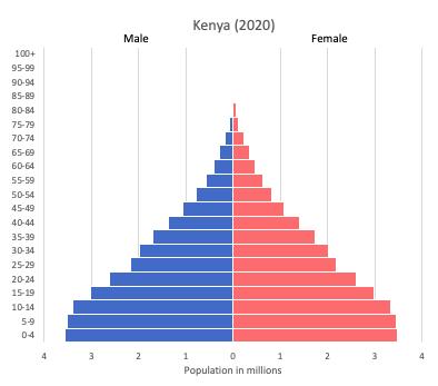 population pyramid of Kenya (2020)