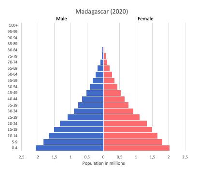 population pyramid of Madagascar (2020)