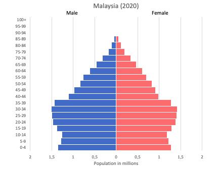 population pyramid of Malaysia (2020)