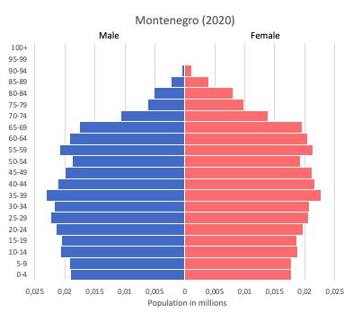 population pyramid of Montenegro (2020)