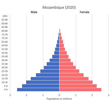 population pyramid of Mozambique (2020)