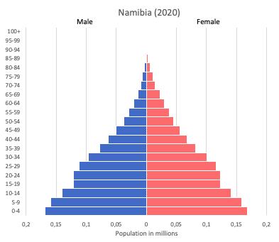 population pyramid of Namibia (2020)