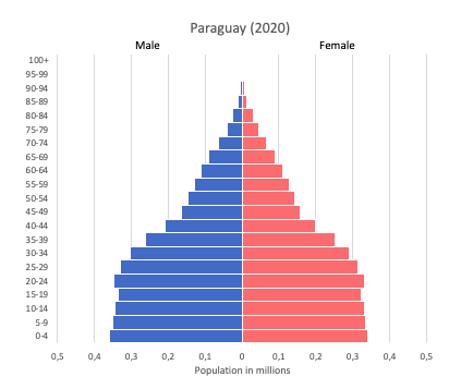 population pyramid of Paraguay (2020)