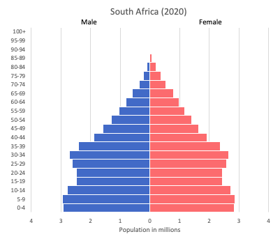 population pyramid of South Africa (2020)