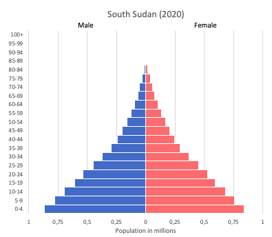population pyramid of South Sudan (2020)