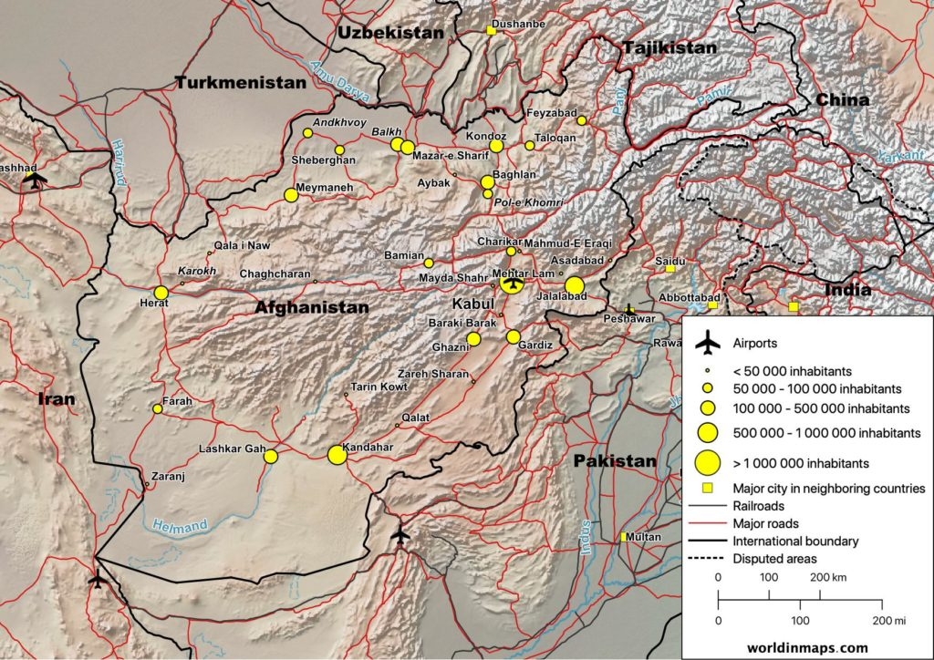 Cities, Railroads and road map of Afghanistan
