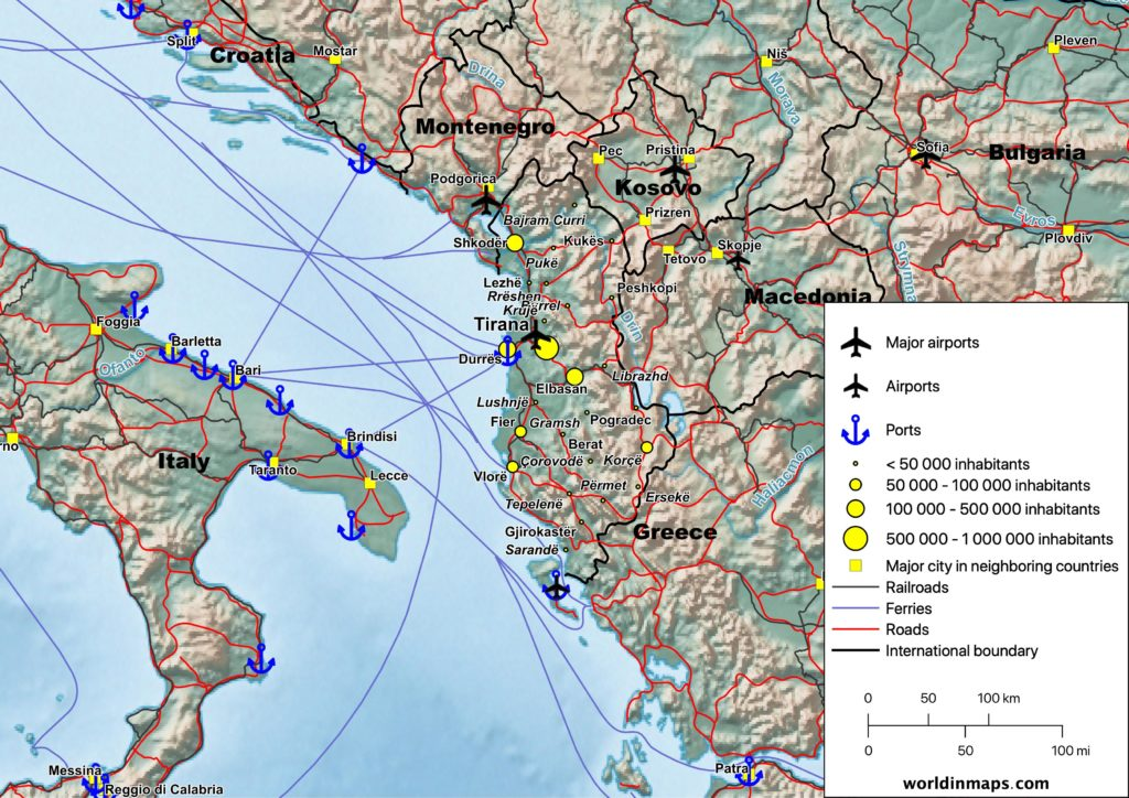 Cities, railroads, roads and ferries map of Albania