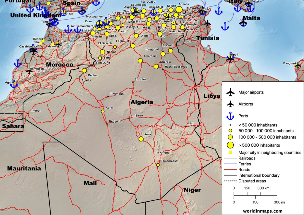 Cities, airports, ports, railroads, ferries and road map of Algeria