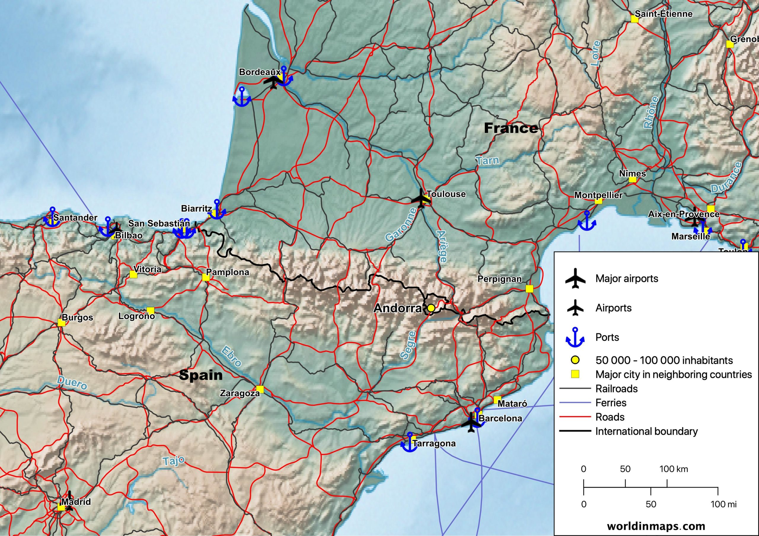 Cities, airports, ports, railroads, ferries and road map of Andorra and the surrounding areas