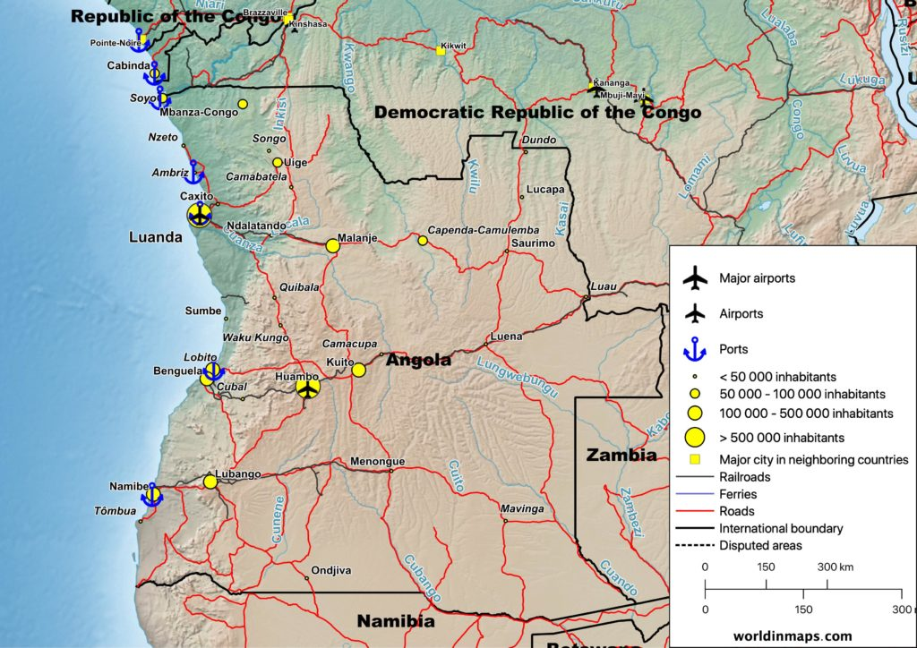Cities, airports, ports, railroads, ferries and road map of Angola