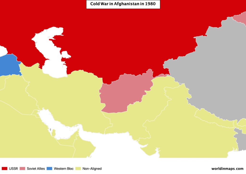 Cold war map of Afghanistan in 1980