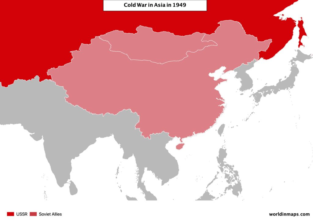 Cold war map of Asia after the civil war of China in 1949