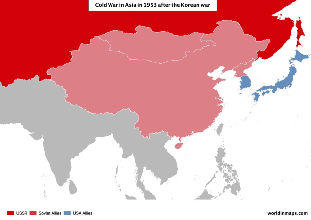 Cold war map of Asia after the Korean war in 1953