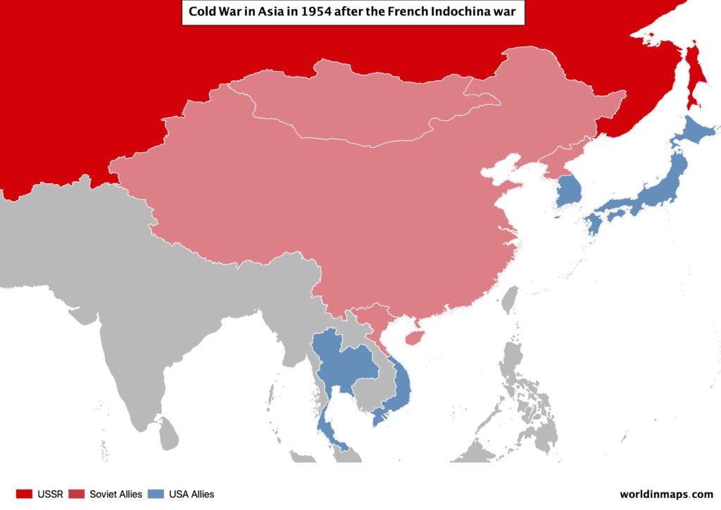 Cold war map of Asia after the French Indochina war in 1954