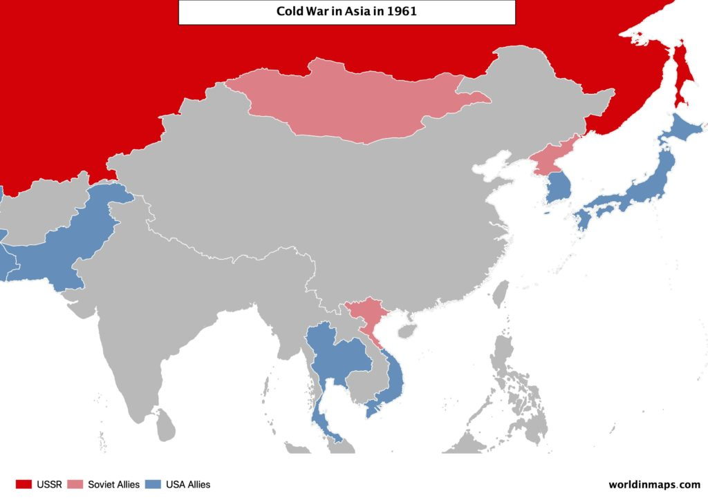 Cold war map of Asia in 1961