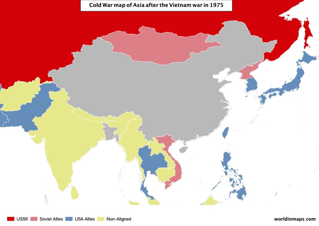 Cold War map of Asia after the Vietnam war in 1975