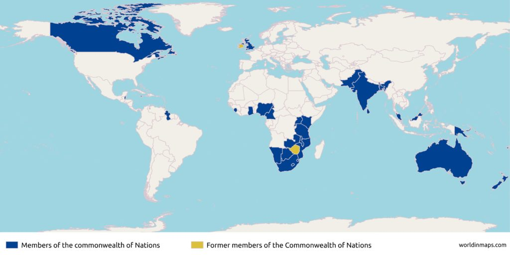 world map with the members of the Commonwealth of Nations