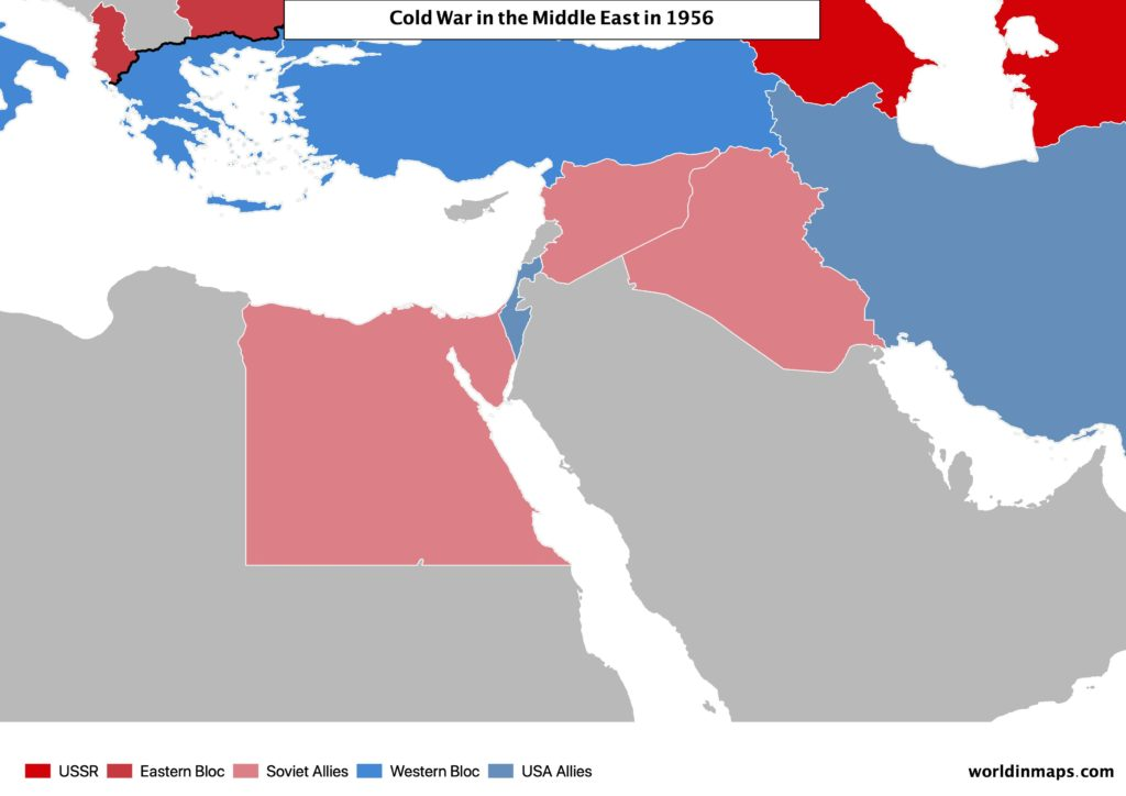 Cold war map of the Middle East in 1956