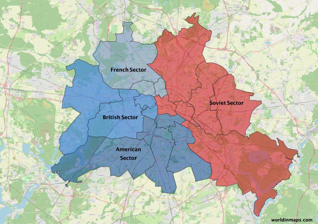 map of Berlin with the different sectors