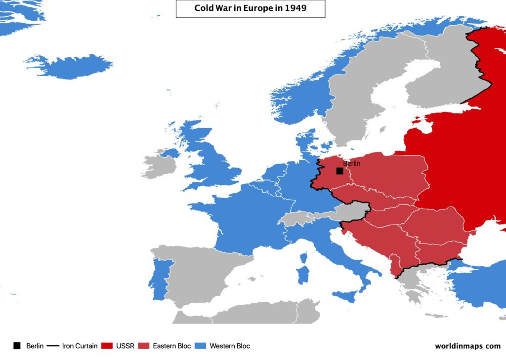 Cold war map of Europe in 1949 with the Iron Curtain