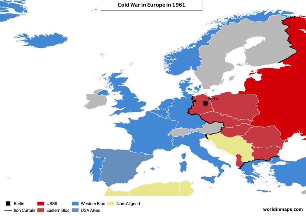 Cold war map of Europe in 1961
