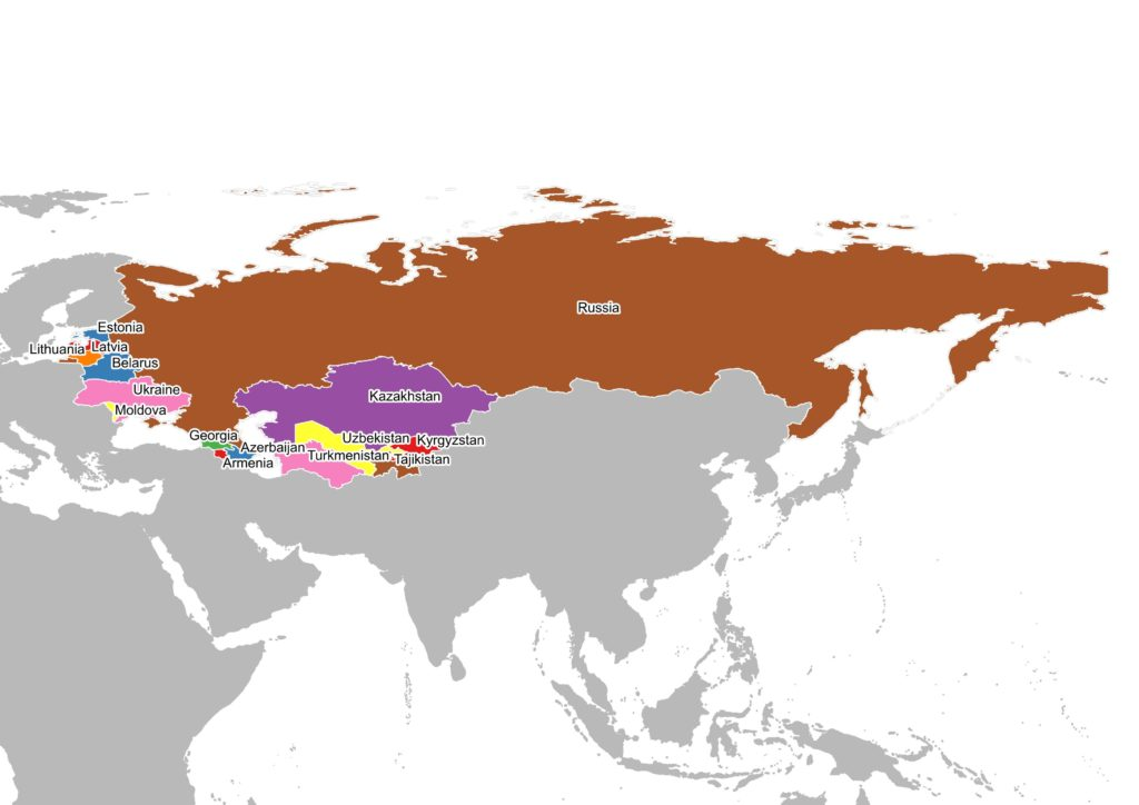 Map of the new countries after the imploding of USSR