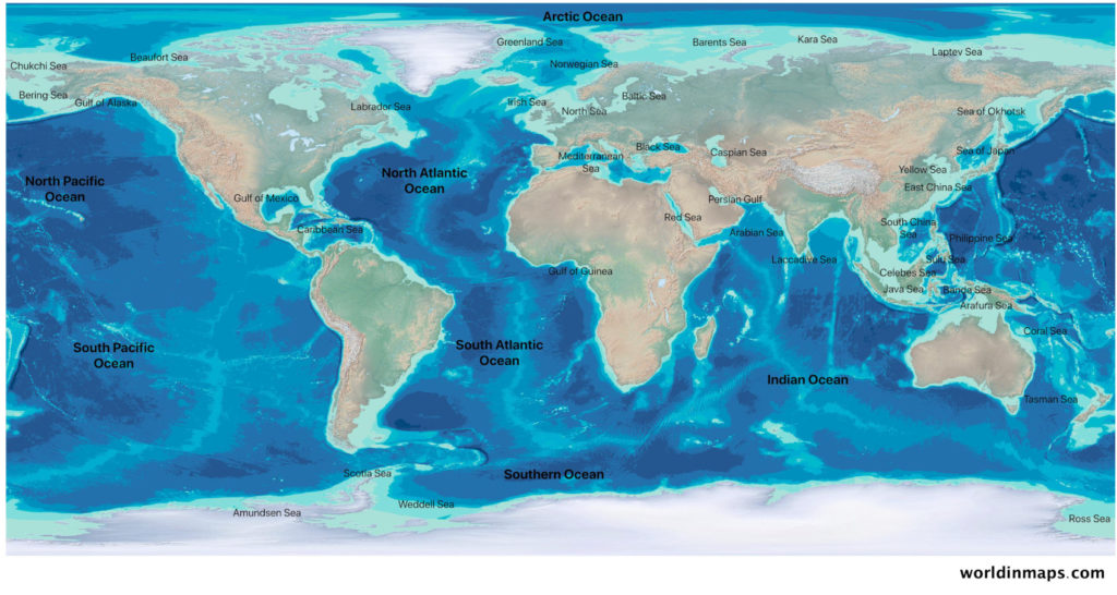world ocean and major water bodies map