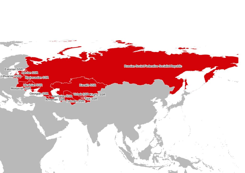 map of the USSR with the 15 republics