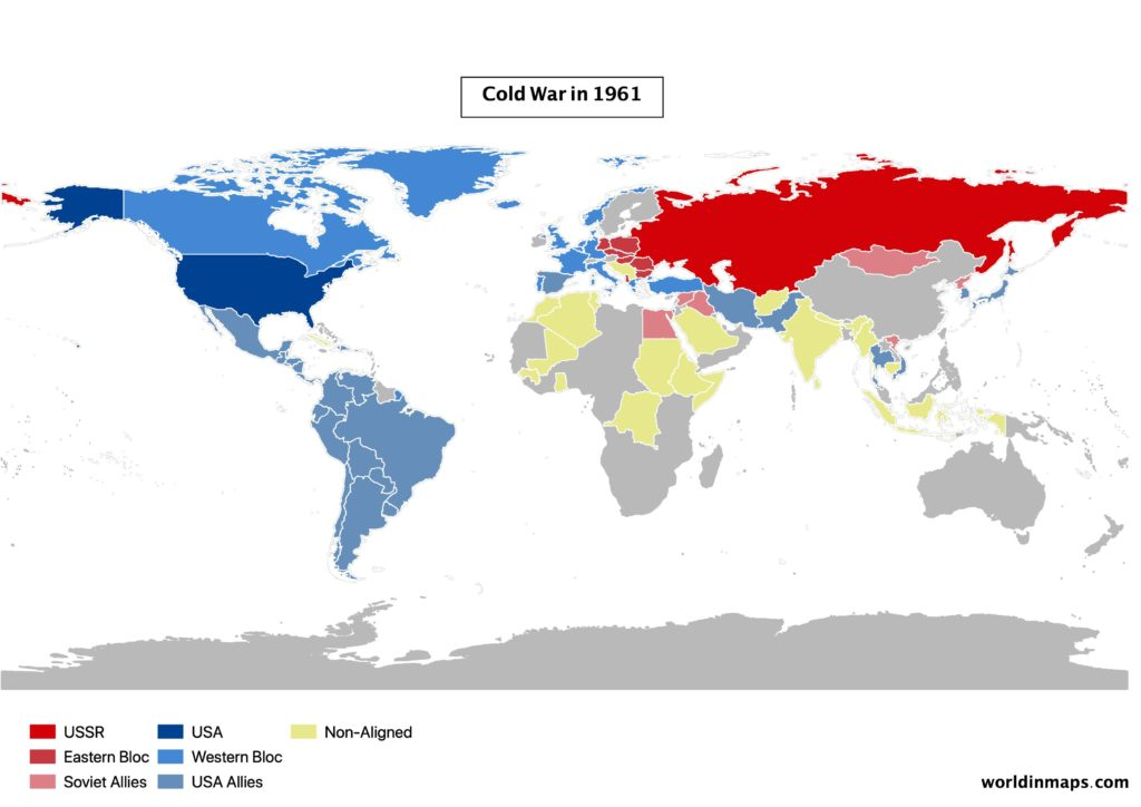 Cold war world map in 1961
