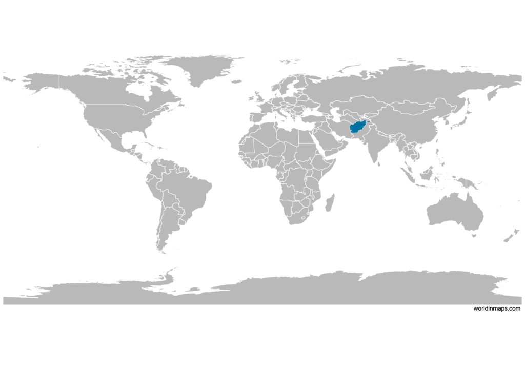 Afghanistan on the world map