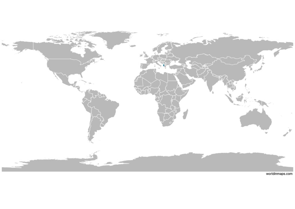 Albania on the world map