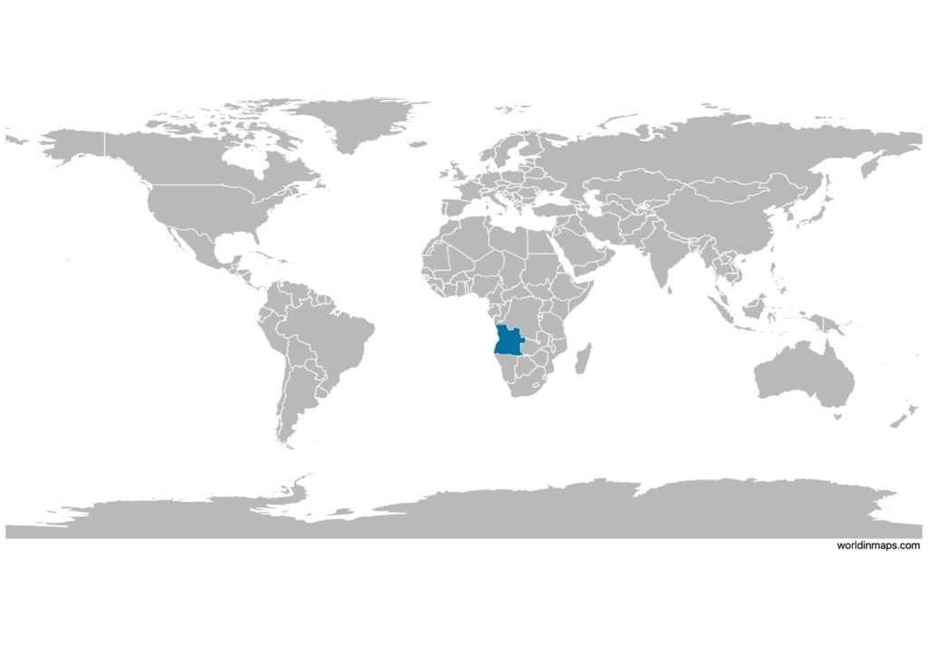 Angola on the world map