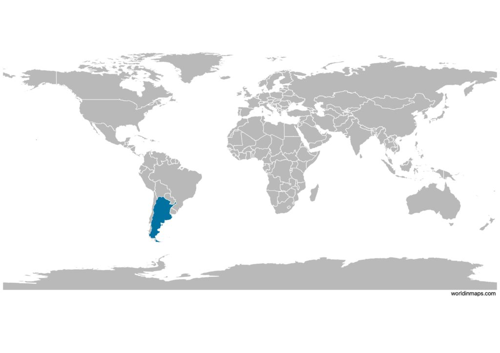 Argentina on the world map